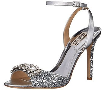 Silver glitter wedding shoes with rhinestones bridesmaid shoes evening prom shoes