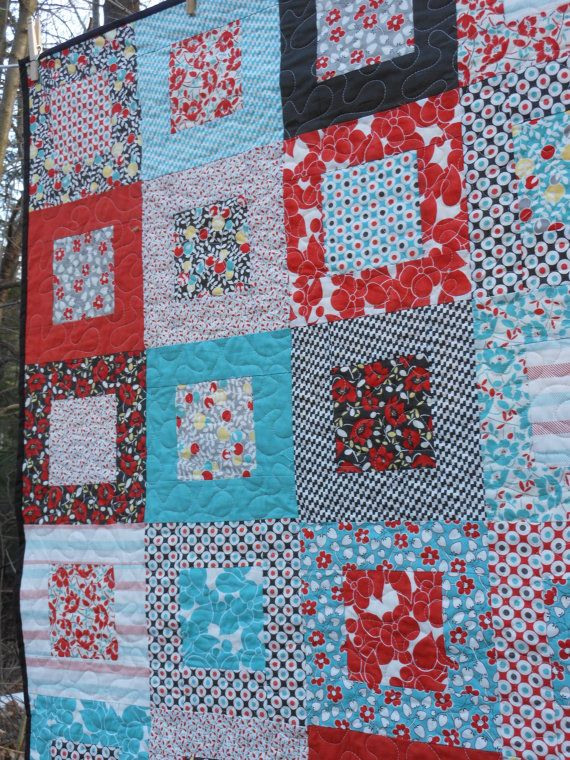 Nice square-in-square design...    Hello Betty Retro Lap Quilt -red, aqua, brown ---pattern also available. $148.00, via Etsy.