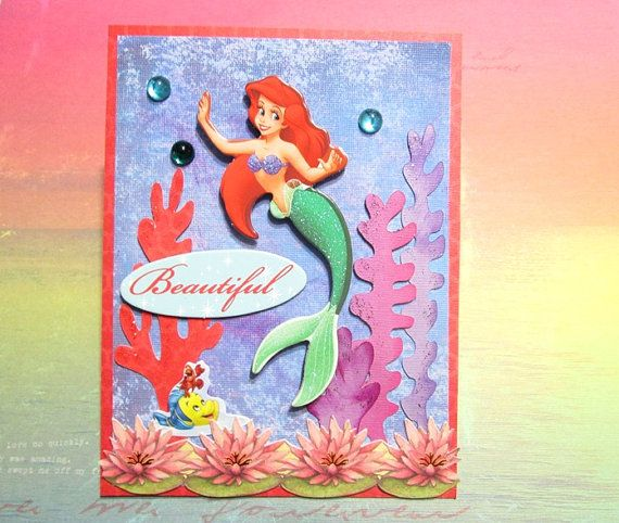 49 best CARDS Disney Princesses images – Ariel Birthday Card