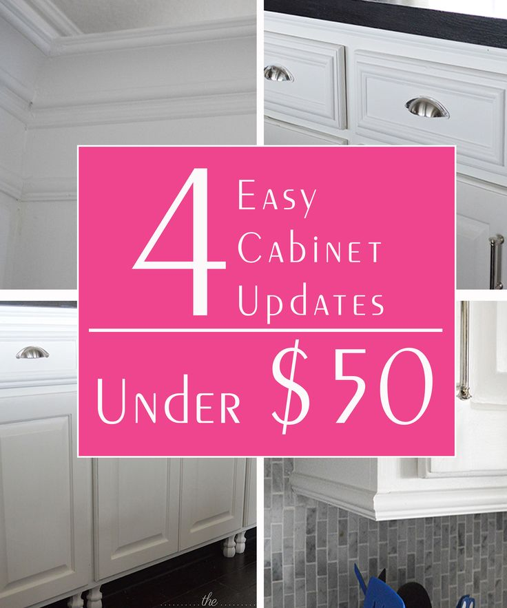 4 easy and quick ways to give your basic cabinets a custom look - all under $50 (one is only $12)!!