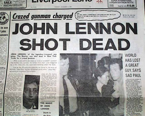 Sad...John Lennon was an English musician who gained worldwide fame as one of the founders of The Beatles, for his subsequent solo career, and for his political activism and pacifism. He was shot by Mark David Chapman at the entrance of the building where he lived, The Dakota, in New York City on 8 December 1980. Lennon had just returned from Record Plant Studio with his wife, Yoko Ono.