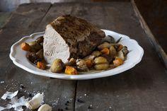 Arrosto d'autunno di vitello con porcini, castagne e zucca croccante