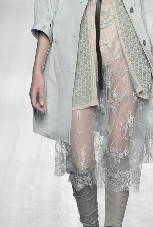 Layered fashion details with a mix of sheer lace, silk & lightweight knits // Antonio Marras