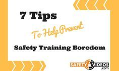 Great tips on how to put on a kick ass safety meeting while reducing the chances of boredom!!