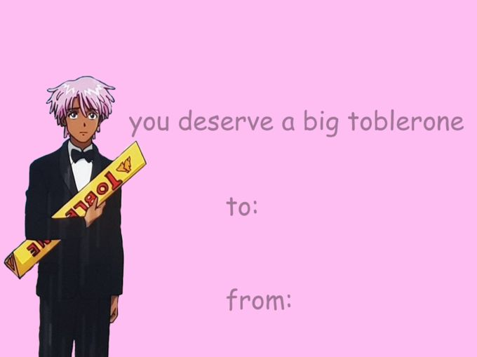Big Toblerone | Know Your Meme    Big Toblerone refers to references and jokes based on a scene from the Netflix anime series Neo Yokio, in which the protagonist, Kaz Kaan, courts a woman by gifting her an oversized Toblerone candy bar.    Read more at KnowYourMeme.com.