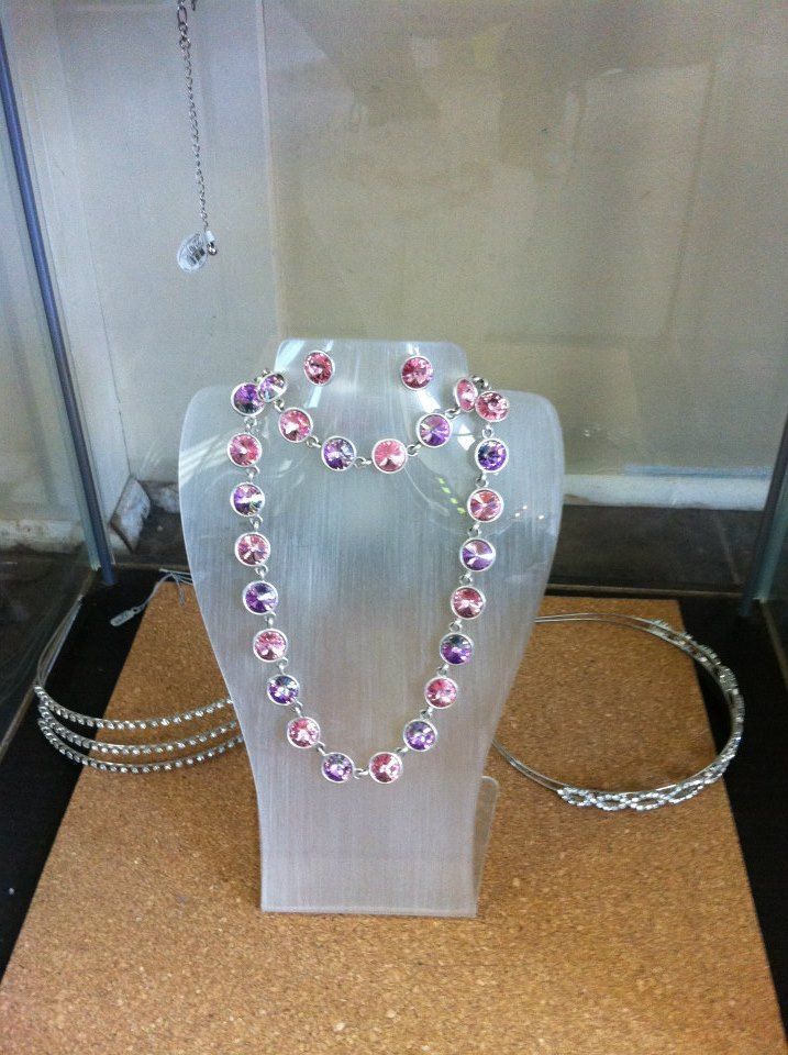Sparkly pink and purple necklace.