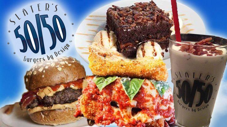 Slaters 50/50 ® Fried Lasagna Burger, PB&J Burger, Bacon Brownie ...