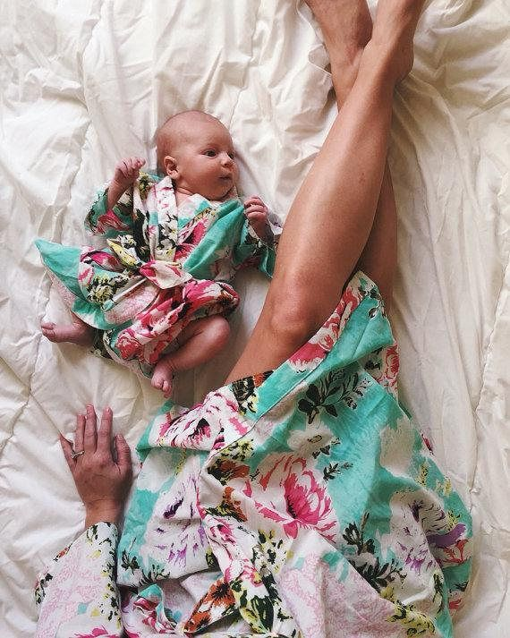 287dc6183b681 Mom and me robes, floral birthing robe, pregnancy and labor, newborn boy  swaddle, hospital wear robe, nursing robe set, cotton delivery robe |  Lovely Little ...