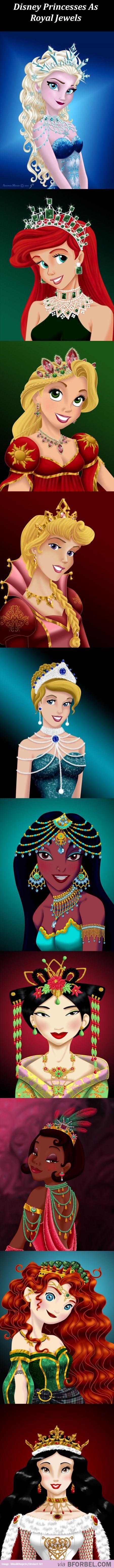 Disney Princesses in their native royal jewellery.