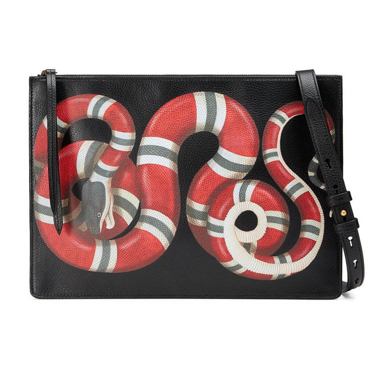 GUCCI KINGSNAKE PRINT LEATHER MESSENGER. #gucci #bags #shoulder bags #hand bags #suede #lining #