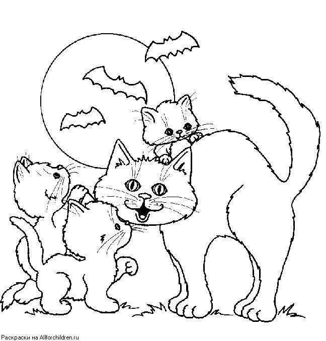 Кошка с котенком рисунок для детей