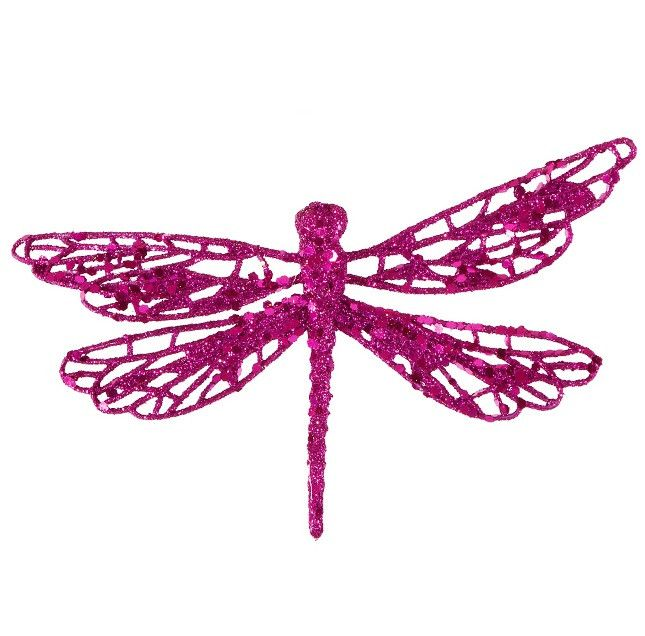 "6"" Fuschia Pink Glittered Dragonfly Clip-On Christmas Ornament"