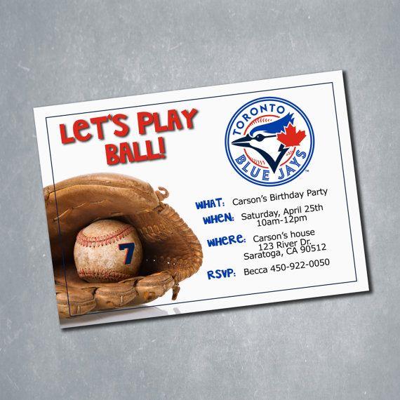 $10 Toronto Blue Jays MLB Baseball Birthday Invitation. One sided Digital File. || Etsy Shop: MeghansView