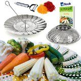 #10: Premium Vegetable Steamer Basket  5.5-9.3  Best Bundle  Kitchen Deluxe  100% Stainless Steel  Bonus 2 in 1 Julienne Veggie Peeler Hook Insert & Food Cooking eBook  For Pressure Cooker Pot Pan & Wok  Folding & Collapsible Instant Steam Rack