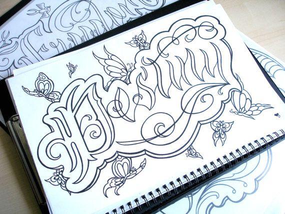 Destiny Tattoo Script Tattoo Coloring Page Adult by Tatt2edRoZe