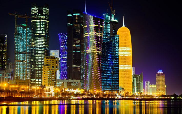 壁紙をダウンロードする 4k, ドーハ, 近代建築, 高層ビル群, カタール, nightscapes