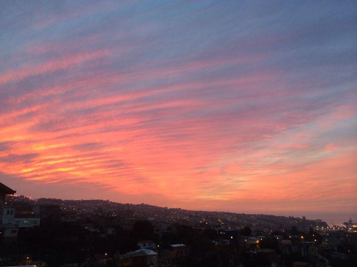 Sunset from La Sebastiana, Pablo Neruda's home in Valparaíso, Chile.