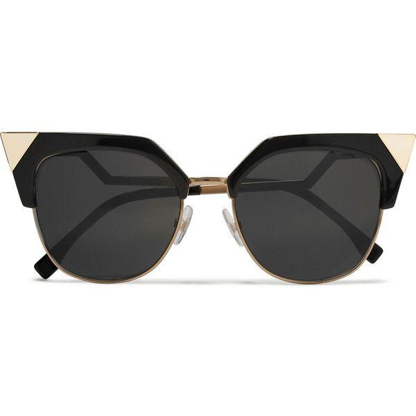 Fendi Fendi - Iridia Cat-eye Gold-tone And Acetate Sunglasses - Black (£285) ❤ liked on Polyvore featuring accessories, eyewear, sunglasses, glasses, cat-eye glasses, fendi eyewear, acetate glasses, acetate sunglasses and cateye sunglasses