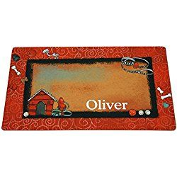 Drymate Bow Wow Red Personalized Dog Placemat, Small