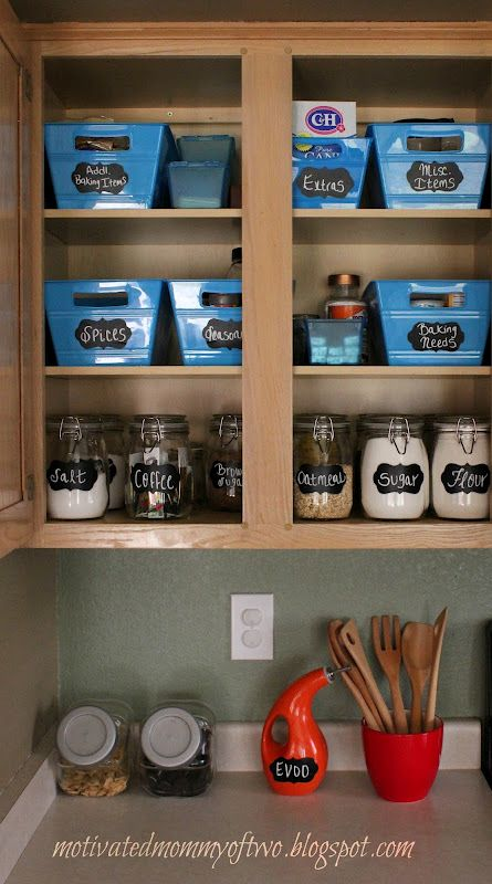 Ikea jars and Dollar Store bins. I just reorganized my pantry this way...need to find time to make the labels :)