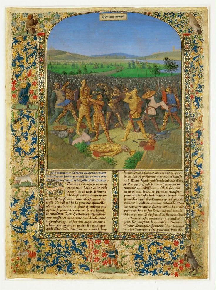 Jean Fouquet, Ancient History to Caesar and the Deeds of the Romans; page depicting a battle between Romans and Carthaginians at Cannae in 216 BC