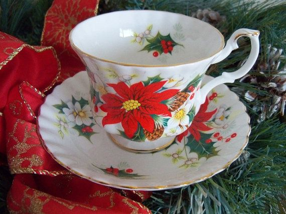 Royal Albert Christmas teacup and saucer by YorkshireTeaCupShop