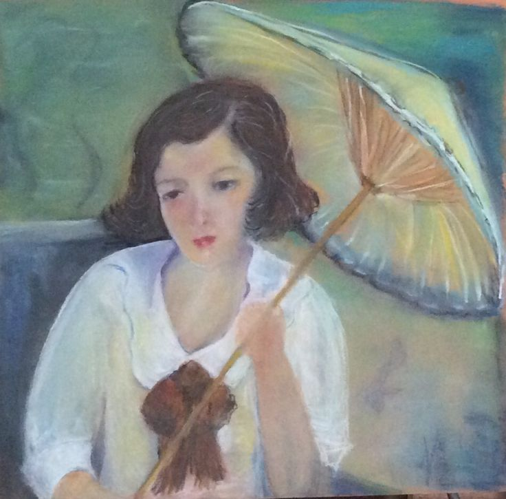 Girl with parasol  soft pastel (Alvarez)