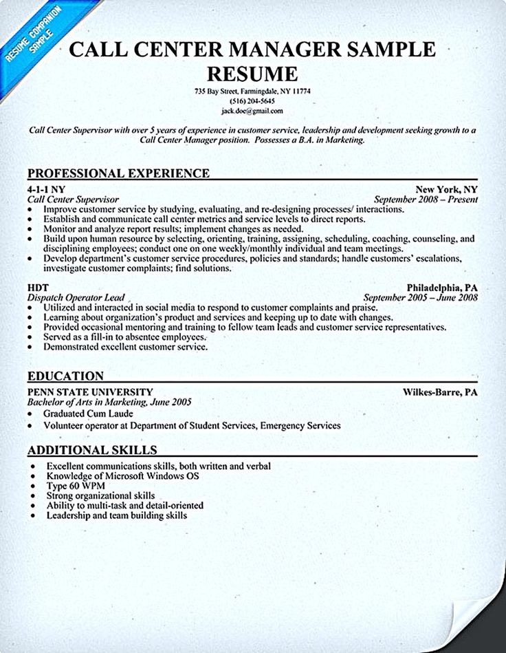 call center resume for professional with relevant