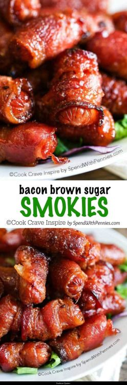 These bacon wrapped smokies with brown sugar make a great appetizer! They are easy to make and can easily be made ahead of time because they freeze well! | See more about Brown Sugar Bacon Bacon and Brown Sugar.