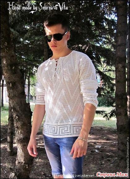 Мужская футболка-рубашка сеткой с греческой волной (крючок)
