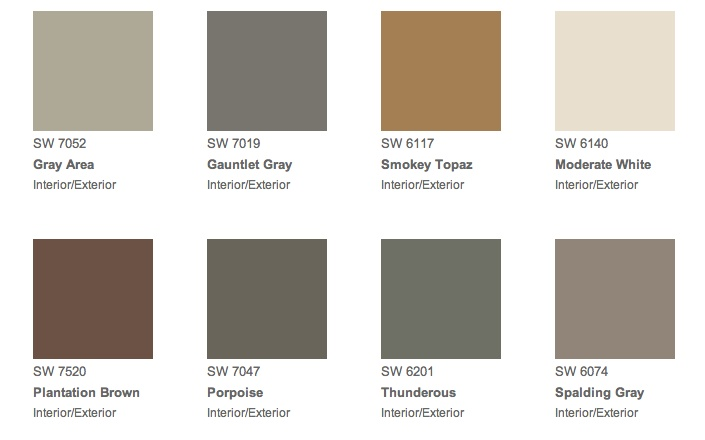 Sherwin Williams, samples colours on order for house exterior.