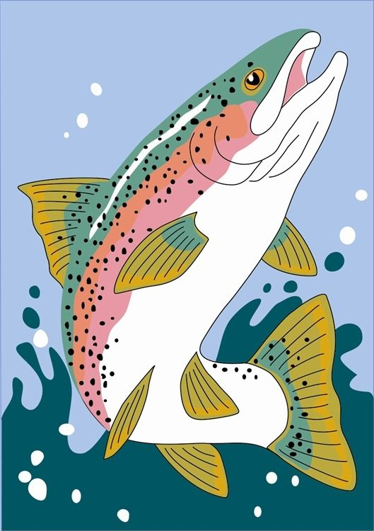 The Rainbow Trout Flag is applique, standard size, and looks great hanging off a cabin porch.