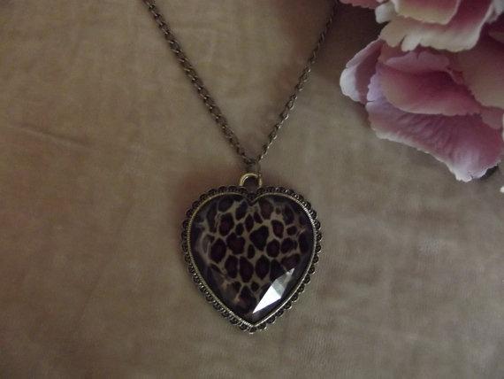 Leopard Animal Print Gem Detailed Heart Bronze Necklace - Topshop, ASOS, HandM  £3.20  Visit Bea Boutique shop etsy.com/shop/beaboutiqueuk