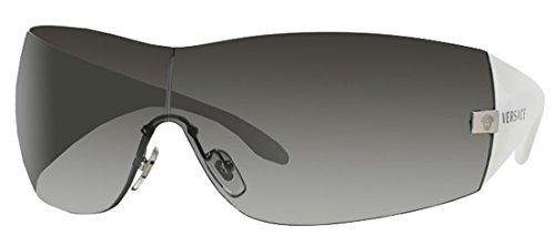 New Authentic Versace Sunglasses White Frame 2054 1000/8G Dark Gray Gradient…