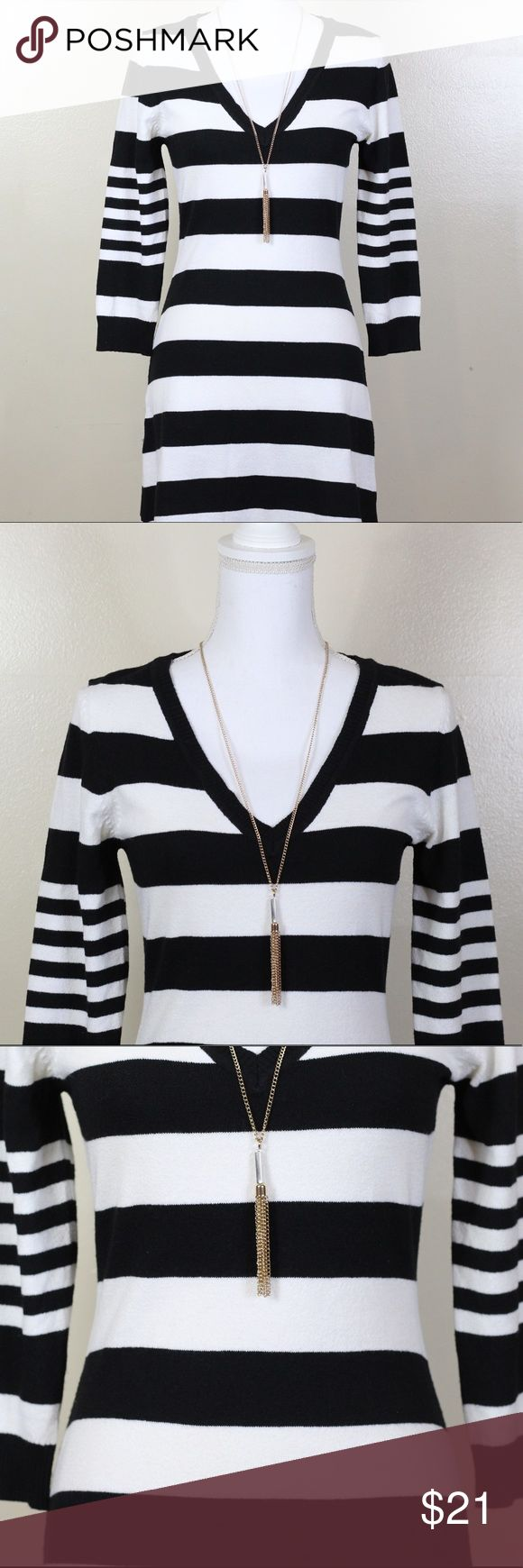 H&M Black & White Stripped Dress H&M Black & White Stripped Dress in size US S. Materials Listed in last picture. Ask me any questions you may have before buying. Offers welcome through the offer button. 💕 *pendant not included* H&M Dresses Midi
