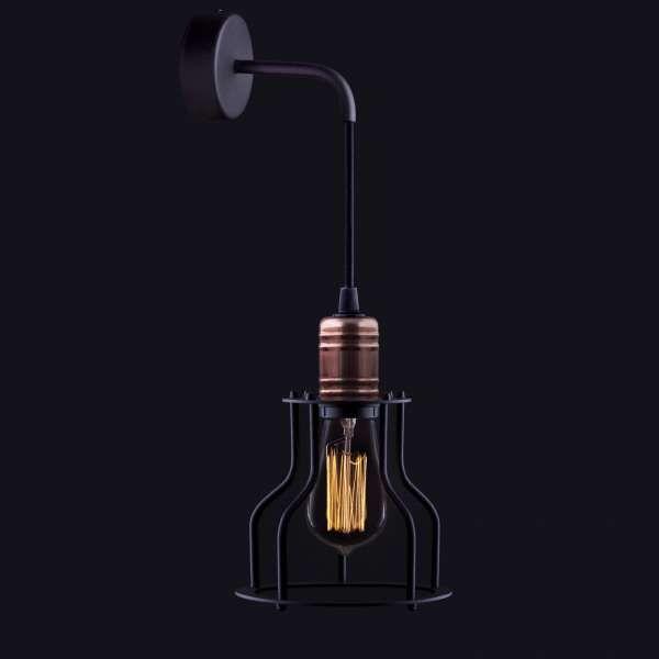 Kinkiet LAMPA ścienna WORKSHOP B 6606 Nowodvorski industrialna OPRAWA pręt drut miedź czarny