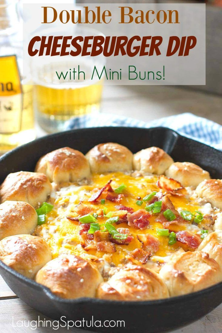 Ooey Gooey Cheeseburger Dip and the buns are made with store bought dough!