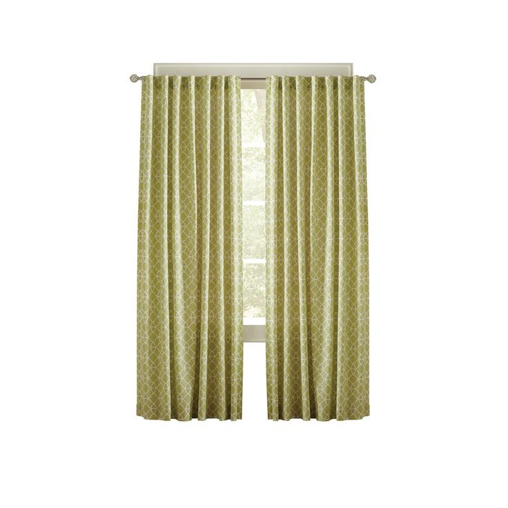 Shop Simply Classic Terrace 95 In L Geometric Kiwi Back Tab Curtain Panel At Lowes