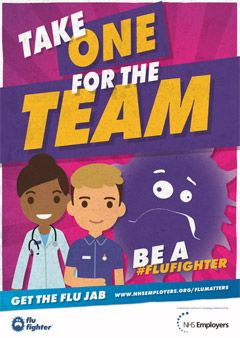 "Take One for the Team - poster for the 2017 NHS campaign ""Get the Flu Jab"""
