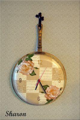 Las manualidades de Sharon: Sartenes recicladas y convertidas en relojes
