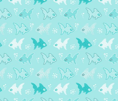 Fish love bubbles fabric by nossisel on Spoonflower - custom fabric