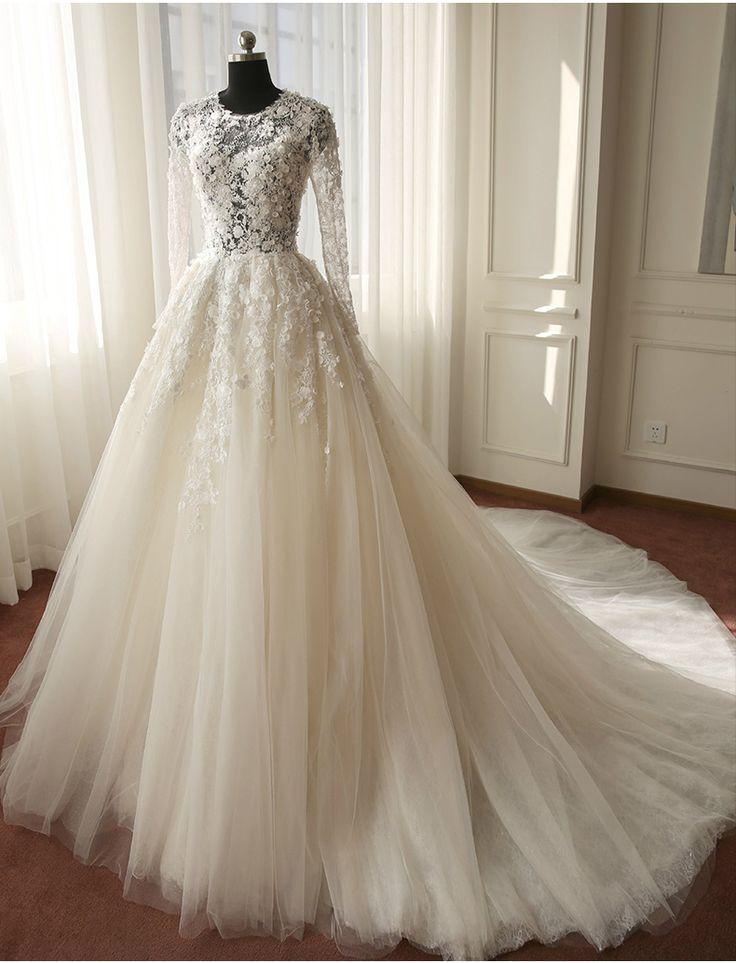gaun pengantin cystal lengan panjang
