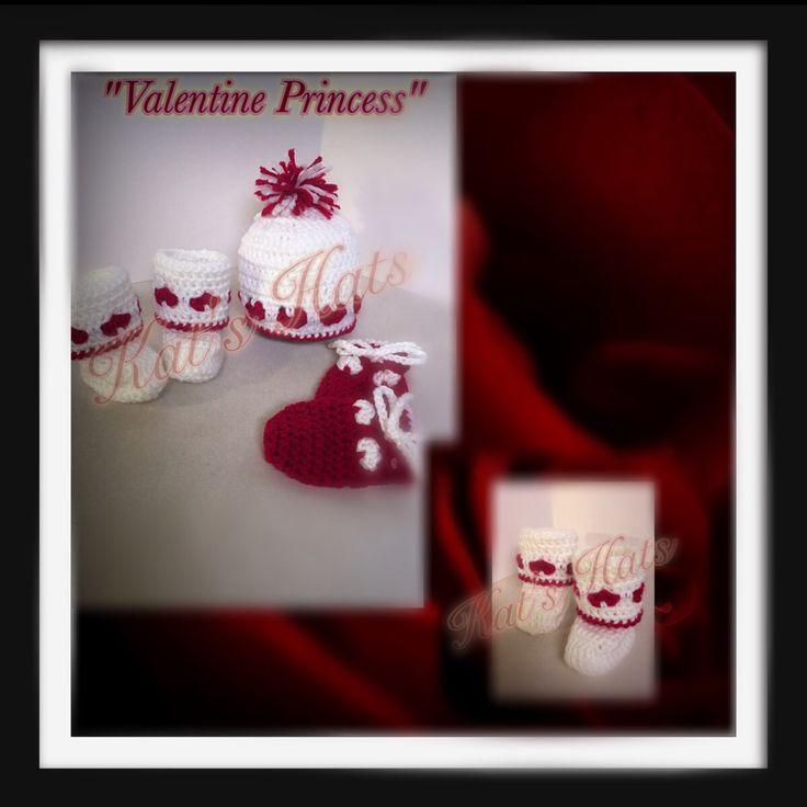Crochet Newborn Valentine Heart Design Hat (Toque), Mittens and High Mukluk Style Booties http://facebook.com/Kats.hats.1