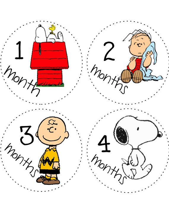 Monthly Onesie Baby Stickers decals Peanuts Gang Charlie Brown Snoopy bodysuit Month to Month Stickers via Etsy