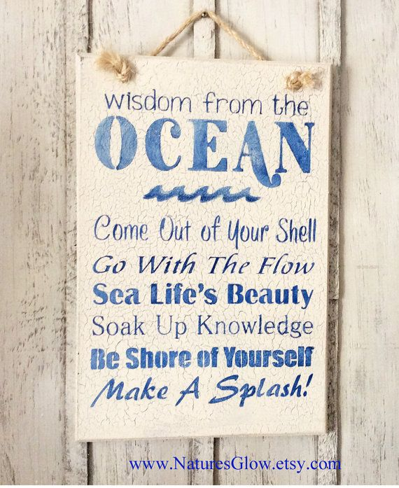 Signe de tropical, la sagesse de l'océan, Décor océan, plage signe, Décor de maison de plage, Décor Tropical, Sea Life, signe nautique, Décor côtier  Cet art mural nautique se lit comme suit...  Sagesse de l'OCÉAN Sortez de votre coquille Aller avec le courant Beauté de la vie de mer Imprégnez-vous de la connaissance Être sûr de vous Faire un Splash  Il est idéal pour un bar ou une cuisine étagère... à la maison de plage, votre chalet ou camp.  PRÊT À ÊTRE EXPÉDIER  Ce signe est peint en…
