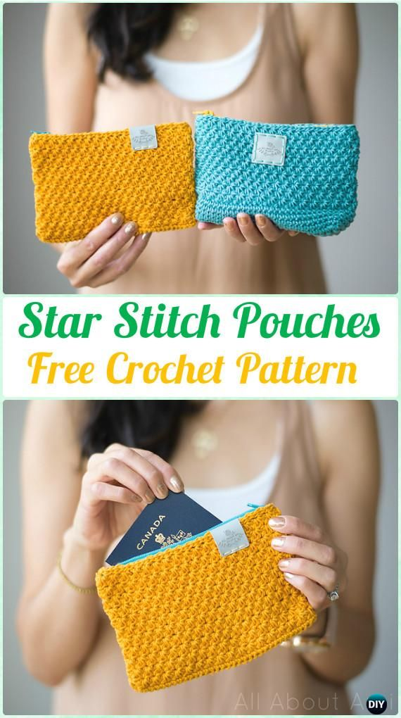 Crochet Star Stitch Pouches Free Pattern - Crochet Clutch Bag & Purse Free Pattern