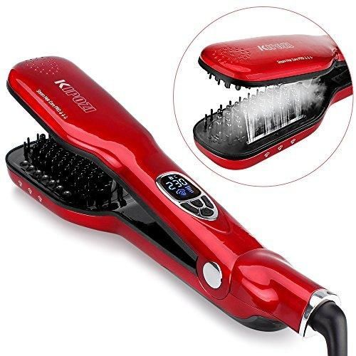 KIPOZI Hair Straightener Brush with Steam flat iron Brush Ceramic 3D bristles Double Plate Straightener Comb (red)