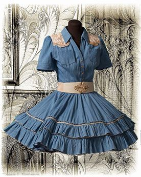 I grew up watching Westerns with my father and have wonderful memories associated the our time together.  My husband had purchased a chambray and white western shirt.  I made this dress to complement his shirt and commemorate my love of old Westerns.  The gold lace is underplayed with white cotton.  I cut off the scalloped edge of the lace to use as a transition between the lace and the chambray on both the front and back of the dress.