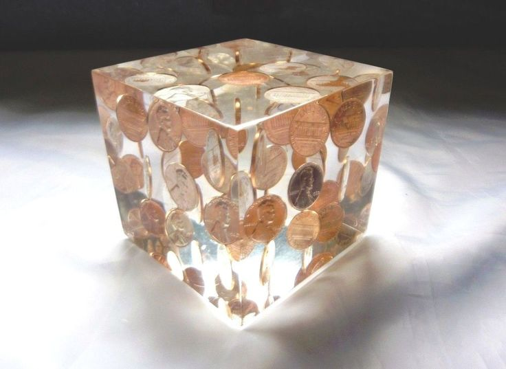 vtg mcm acrylic lucite paperweight 3 u0026quot  cube penny coins