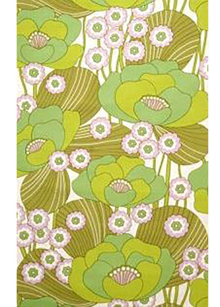 ORIGINAL RETRO MOD POP ART Green Floral Vintage Original Wallpaper Flower 1970s | eBay